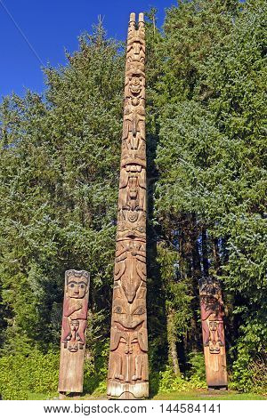 Totem Poles at a Coastal Preserve in Sitka National Historic Park in Alaska