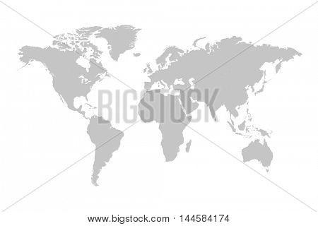 Grey world map illustration on a white background