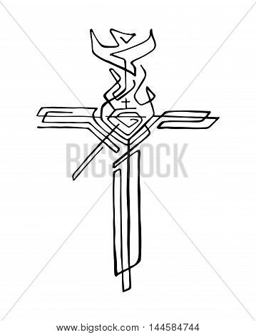 Hand drawn vector illustration or drawing of a religious cross with different symbols