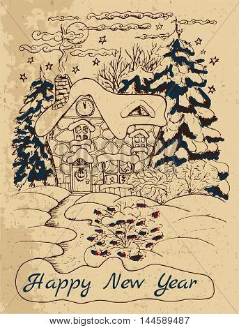 Vintage New Year card with a house and conifers in snow, hand drawn illustration