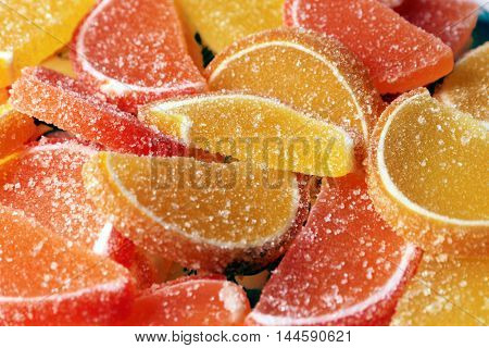 sweet delicious candy colored slices of marmalade