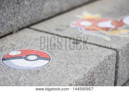 Pokemon Go characters on outdoor city steps
