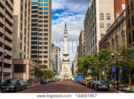 Indianapolis Indiana USA- August 2016. View of The Indiana Sailors' and Soldiers' Monument at Downtown Indianapolis and it is the first memorial to the common soldier in the US.