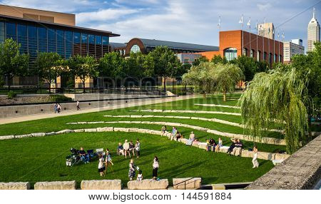 Indianapolis Indiana USA - Aug. 2016. People enjoy outdoors in downtown Indianapolis White River State Park