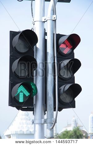 traffic, light, signal, green, red, blue, sky, stop, background, lights, sign, street, stoplight, city, concept, go, urban, way, ready, control, yellow, white, symbol, isolated, semaphore