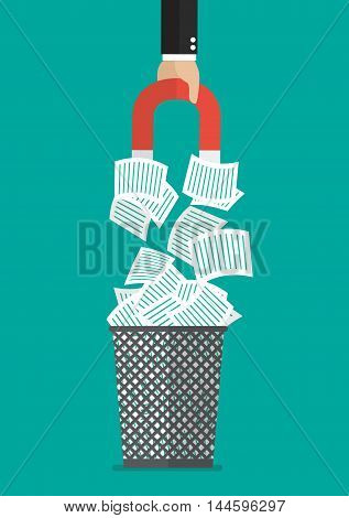 Businessman hold magnet attracting a documents in the trash can. vector illustration