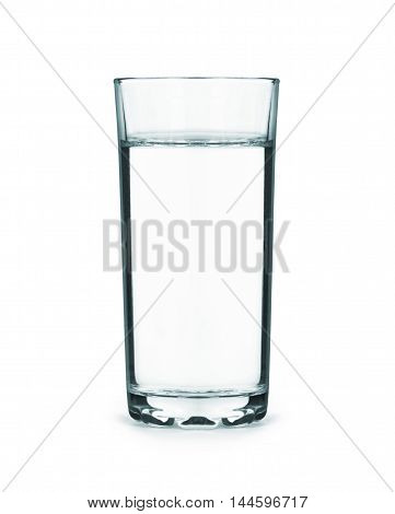 a tall glass full of water isolated on white background