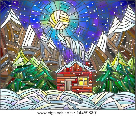 Winter landscape in the stained glass style with a lone house on a background of mountains and the night sky
