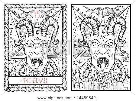 The devil. The major arcana tarot card, vintage hand drawn engraved illustration with mystic symbols. Scary demon face with horns and fangs against pentagram background. Halloween image