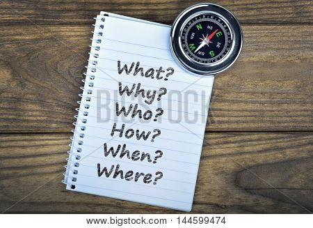 Questions text and metallic compass on wooden table