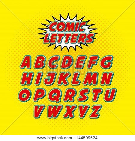 comic font alphabet pop art vector illustration design