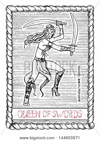 Queen of swords. The minor arcana tarot card, vintage hand drawn engraved illustration with mystic symbols. Woman wearing mask with swords, asian or Indian dancer