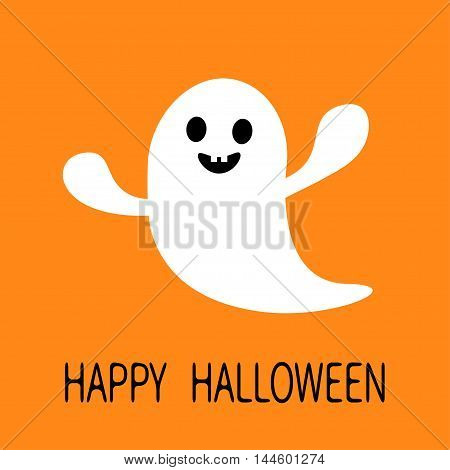 Funny flying ghost. Smiling face with tooth. Happy Halloween. Greeting card. Cute cartoon character. Scary spirit. Baby collection. Orange background. Flat design. Vector illustration