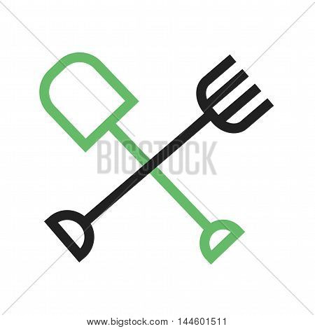 Rake, shovel, tools icon vector image. Can also be used for farm. Suitable for web apps, mobile apps and print media.
