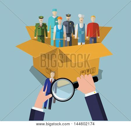 Person Candidate from Box. People finding with magnifying glass. Staff research concept.