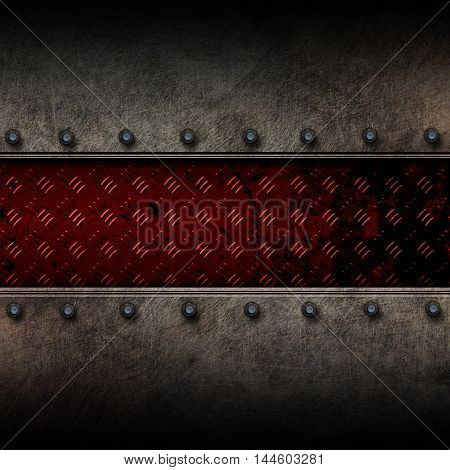grunge metal and red diamond plate. 3d illustration. background and texture.