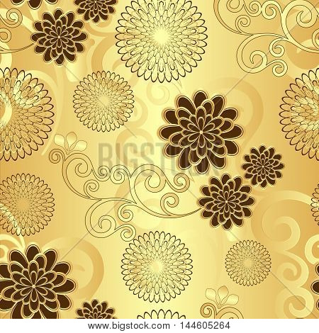 Seamless golden floral pattern with vintage flowers vector