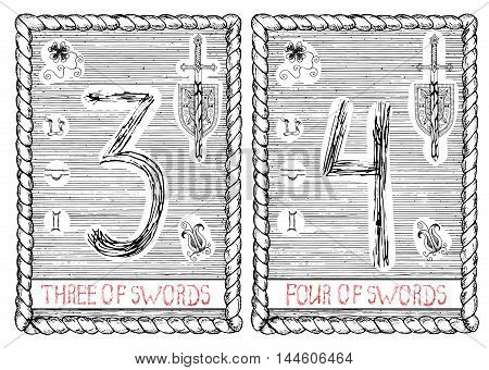 Three and four of swords. The minor arcana tarot card, vintage hand drawn engraved illustration with mystic symbols.