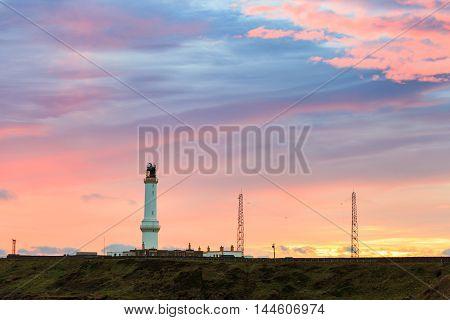 Girdle Ness lighthouse During Sunrise in Aberdeen Scotland UK