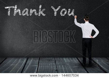 Thank You text write on black board