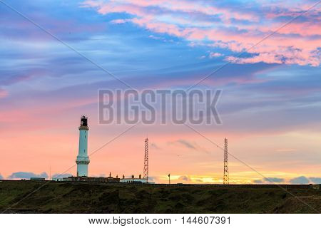 Girdle Ness lighthouse During Sunrise in Aberdeen Scotland UK