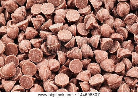 A close up image of chocolate chips