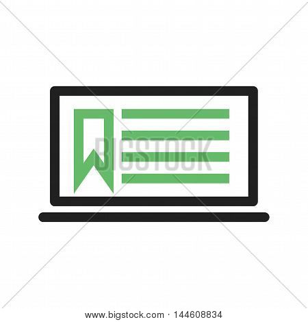 Online, notes, laptop icon vector image. Can also be used for E Learning. Suitable for mobile apps, web apps and print media.