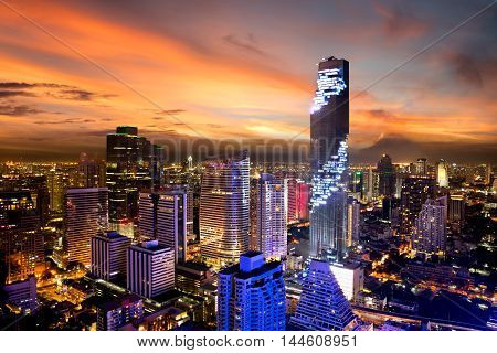 MahaNakhon tower is tallest buildings in Thailand Silom area Bangkok Thailand