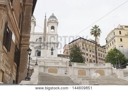 Rome church of trininità dei monti with monumental staircase in spagna square