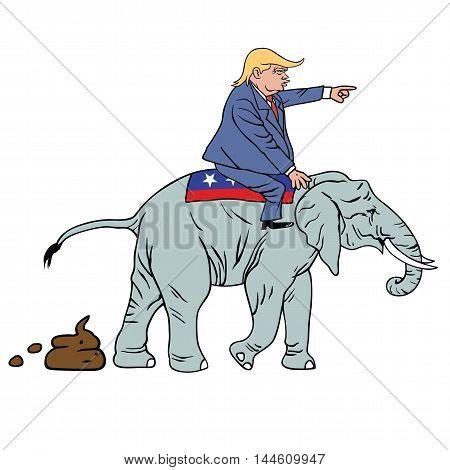 Donald Trump Riding Republican Elephant Caricature Vector poster