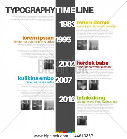 Vector Infographic typographic timeline report template with the biggest milestones, photos, years and description - color version