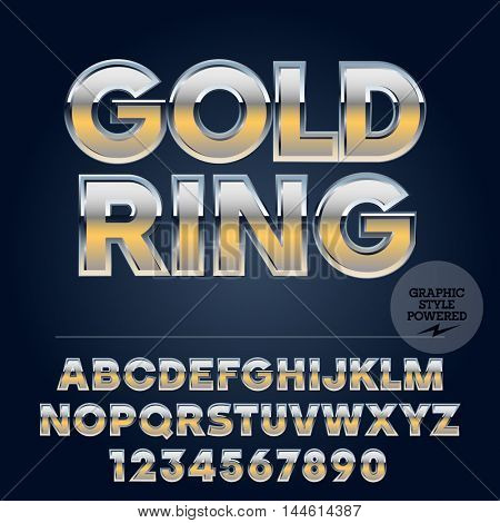 Silver and gold glossy vector set of letters, symbols and numbers