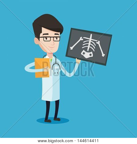 Doctor examining a radiograph. Young smiling doctor looking at a chest radiograph. Doctor observing a skeleton radiograph. Vector flat design illustration isolated on blue background. Square layout.