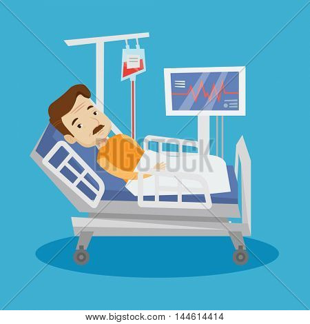 An adult man lying in bed in hospital. Patient resting in hospital bed with heart rate monitor. Patient during blood transfusion procedure. Vector flat design illustration. Square layout.