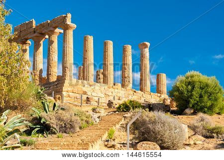 The temple of Juno in the Valley of the Temples of Agrigento