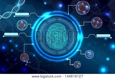 Illustration of  Fingerprint with concept abstract technology background