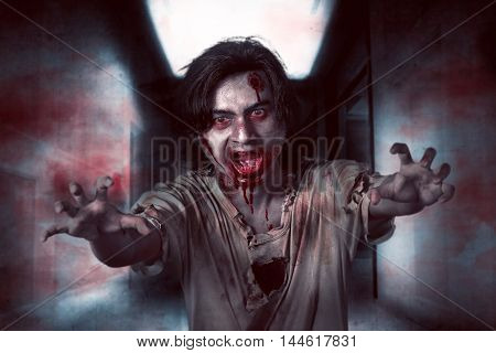 Asian Zombie Man In The Empty Room
