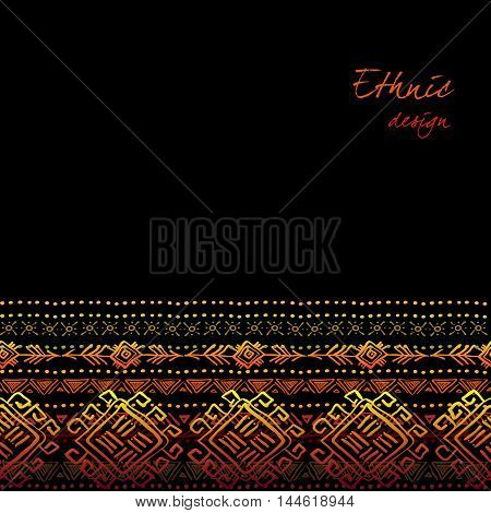Darck horizontal seamless border with tribal ornament ethnic stripes in black background. Geometric colorful design. Vector illustration stock vector.