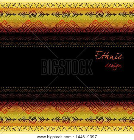 Darck horizontal seamless border frame with tribal ornament ethnic stripes in black background. Geometric colorful design. Vector illustration stock vector.