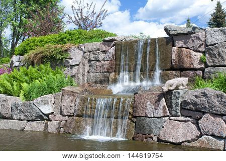 Waterfall In A City Park