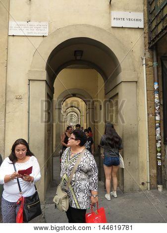 Portico Near Ponte Vecchio In Florence
