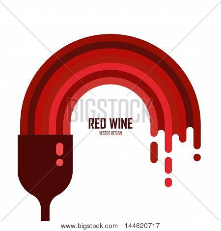 Vector icon of wine glass with red wine isolated. Flowing liquid. Flat style. Alcohol illustration. Celebration element design