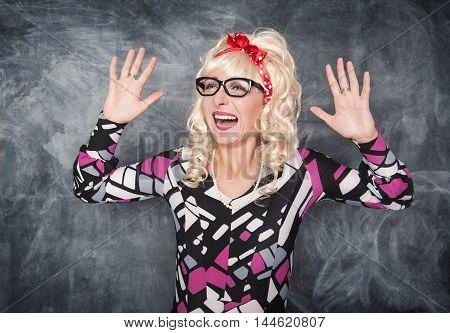 Crazy Screaming Retro Woman