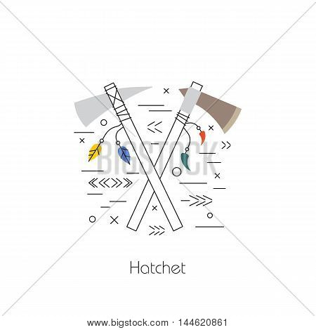 Native american vector element concept. Tribal line design. Indian symbol set isolated. Culture sign. Hatchet