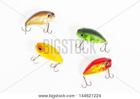 Fishing baits closeup isolated on white background