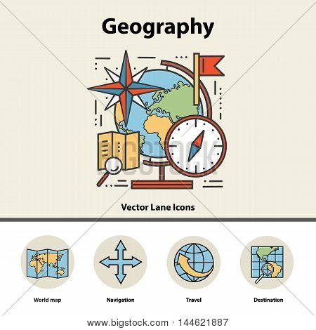 Modern color thin line concept of geography for school, university and training. Art design icons in flat style. Logo for trendy designs. Vector line background.