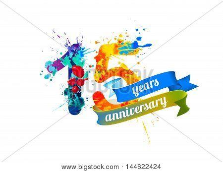 15 (fifteen) years anniversary. Vector watercolor splash paint