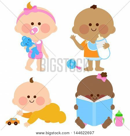 Vector cute baby girls and boys playing, drinking milk, crawling and looking at a book.