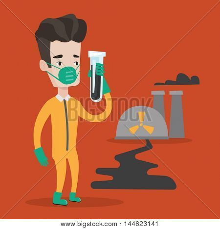 Man in radiation protective suit standing on a background of nuclear power plant. Man in radiation protective suit holding test-tube with black liquid. Vector flat design illustration. Square layout.