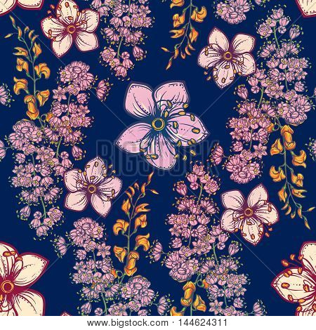Temperate flowers seamless pattern. Meadowsweet and oak flowers. Tender delicate colors. Fresh spring floral design for textile print. Dark Blue background. EPS10 vector illustration.